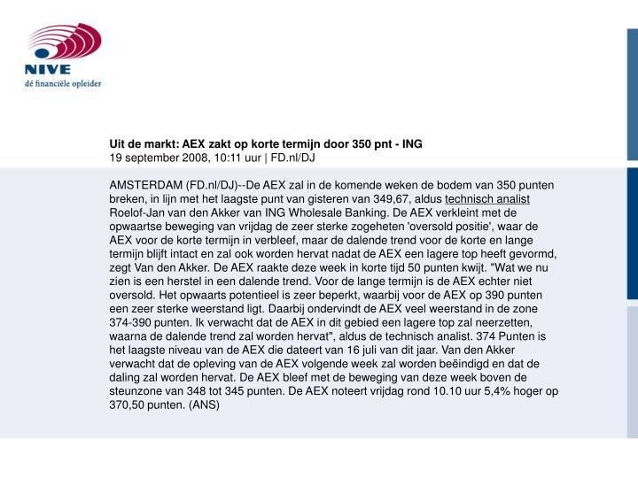 Uit de markt: AEX zakt op korte termijn door 350 pnt - ING
