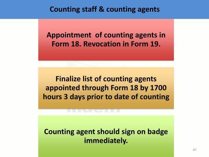 Counting staff & counting agents
