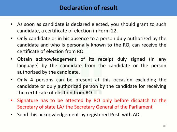 Declaration of result