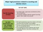 major legal provisions related to counting and election return