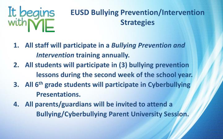 EUSD Bullying Prevention/Intervention Strategies