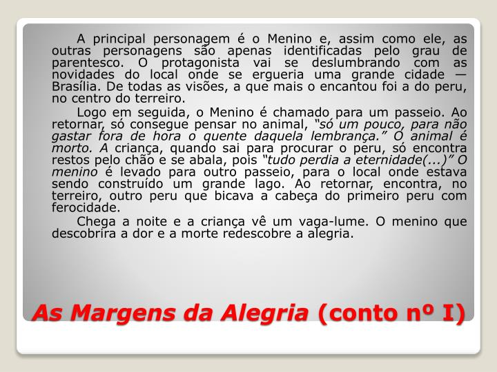 As margens da alegria conto n i