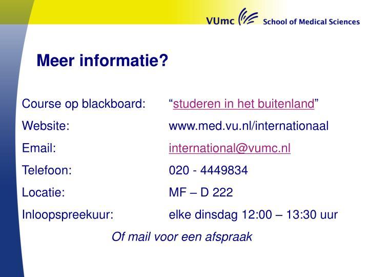 Meer informatie?