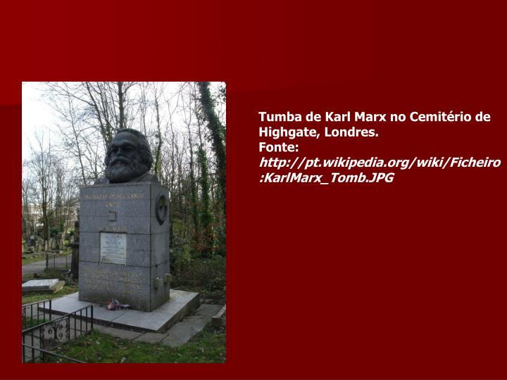 Tumba de Karl Marx no Cemitério de Highgate, Londres.