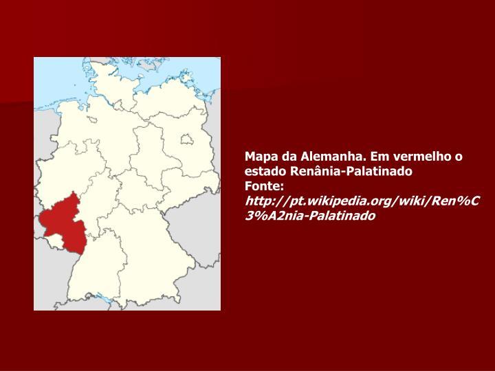 Mapa da Alemanha. Em vermelho o estado