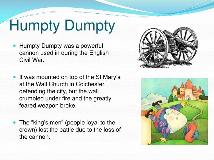 Humpty Dumpty plus all the Come about Colchester : beginning