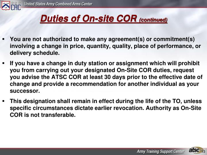 Duties of On-site COR