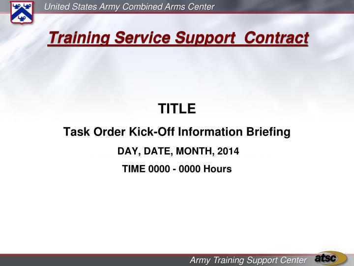 Training Service Support  Contract