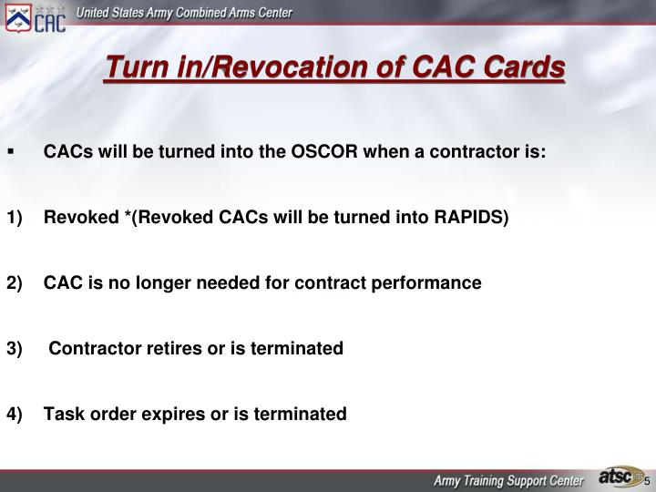 Turn in/Revocation of CAC Cards