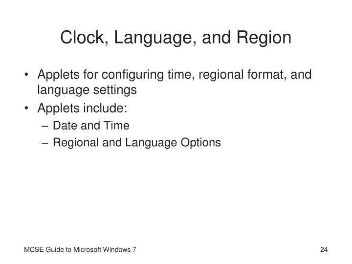 Clock, Language, and Region