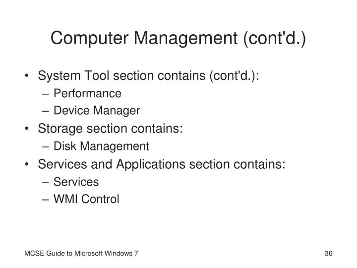 Computer Management (cont'd.)