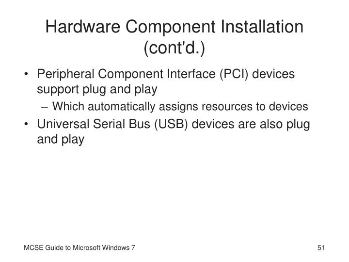 Hardware Component Installation (cont'd.)