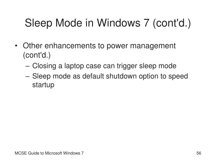 Sleep Mode in Windows 7