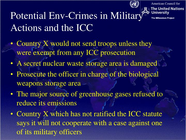 Potential Env-Crimes in Military Actions and the ICC