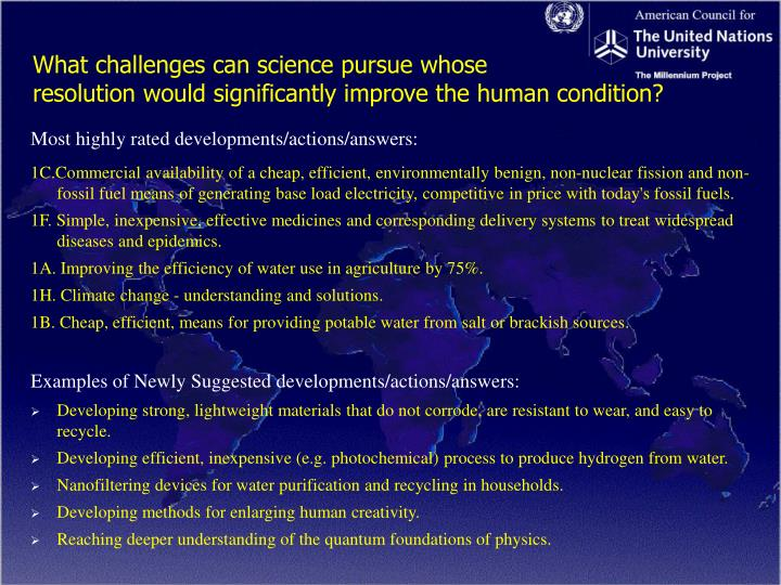 What challenges can science pursue whose