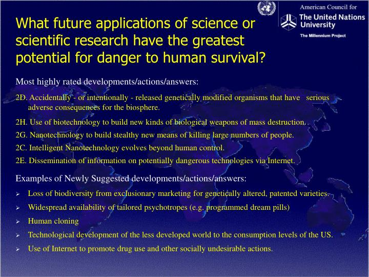 What future applications of science or scientific research have the greatest potential for danger to human survival?