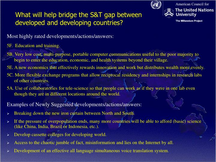 What will help bridge the S&T gap between