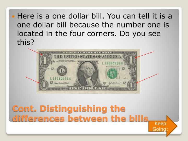 Here is a one dollar bill. You can tell it is a one dollar bill because the number one is located in the four corners. Do you see this?