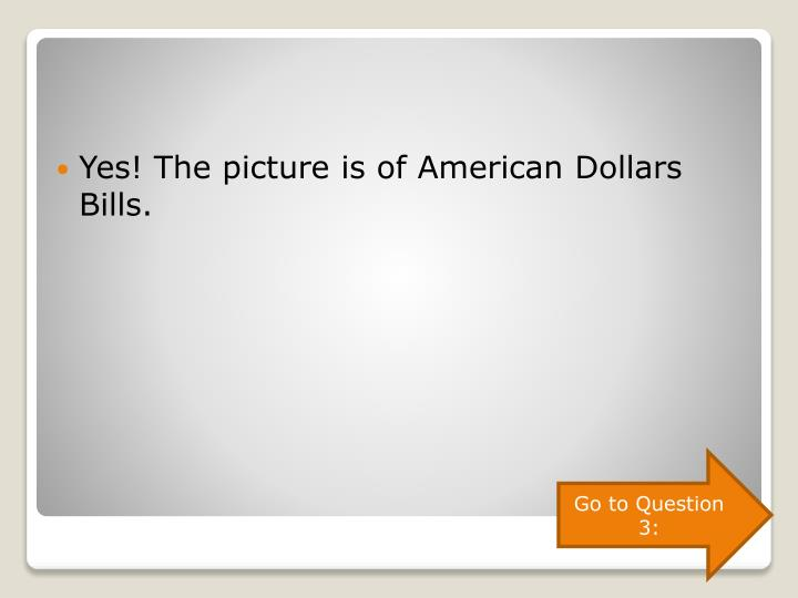 Yes! The picture is of American Dollars Bills.