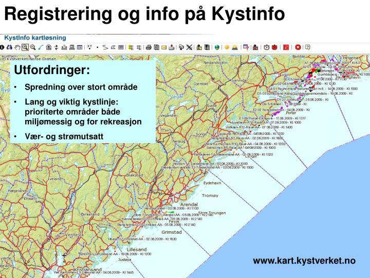 Registrering og info på Kystinfo