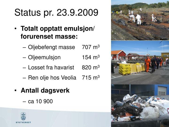 Status pr. 23.9.2009