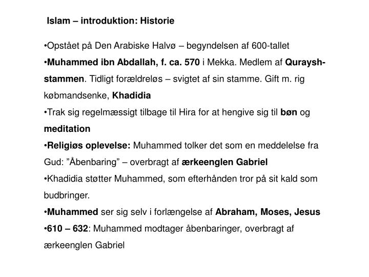 Islam – introduktion: Historie