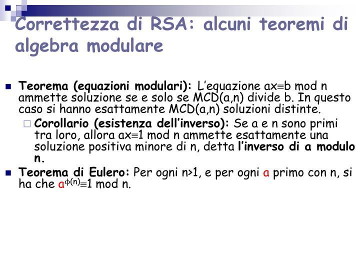 Correttezza di RSA: alcuni teoremi di algebra modulare