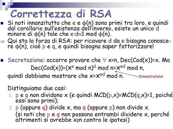 Correttezza di RSA