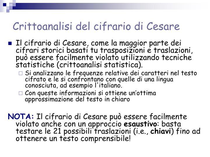 Crittoanalisi del cifrario di Cesare