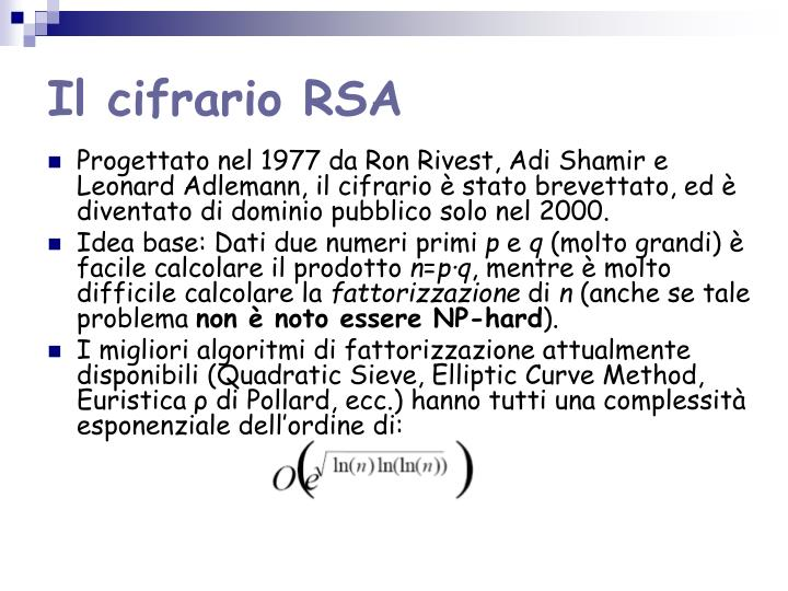 Il cifrario RSA