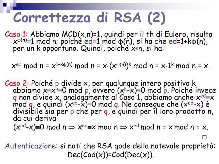 Correttezza di RSA (2)