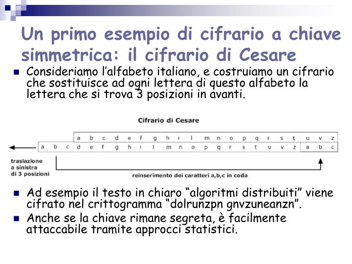 Un primo esempio di cifrario a chiave simmetrica: il cifrario di Cesare