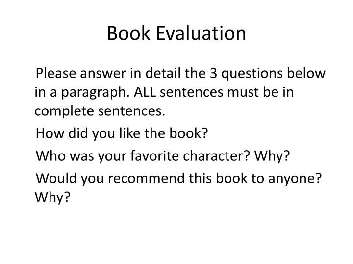 Book Evaluation