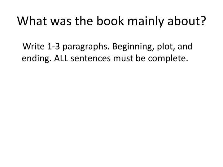 What was the book mainly about