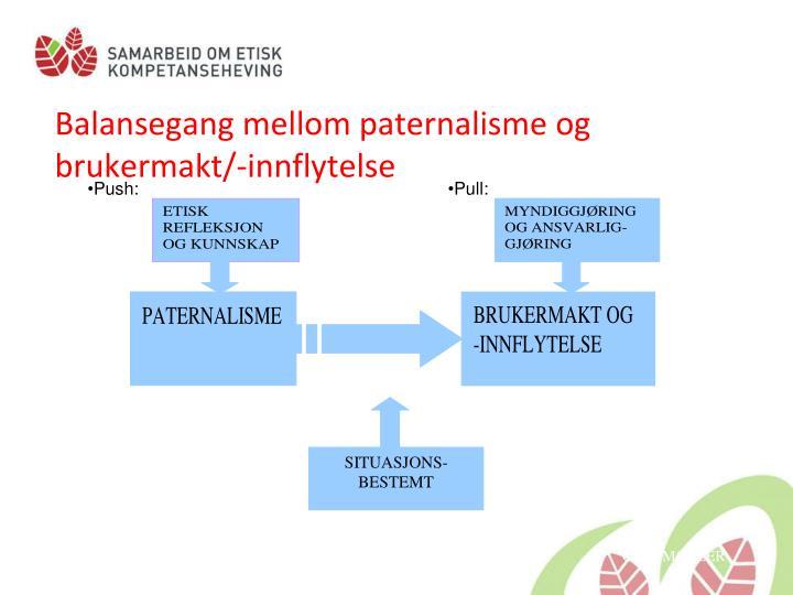 Balansegang mellom paternalisme og brukermakt/-innflytelse