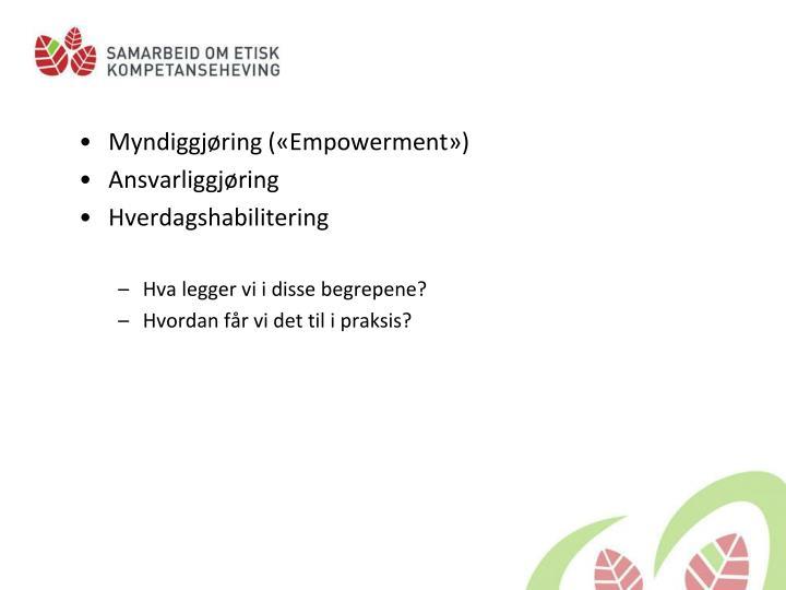Myndiggjøring («Empowerment»)