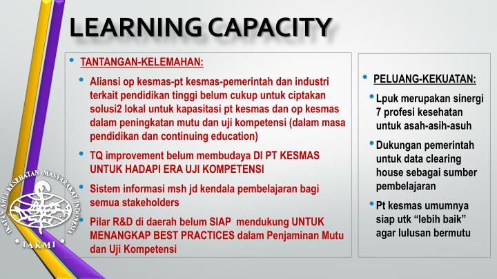 LEARNING CAPACITY
