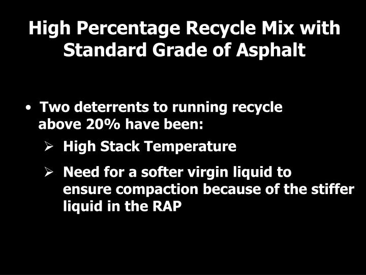 High Percentage Recycle Mix with Standard Grade of Asphalt
