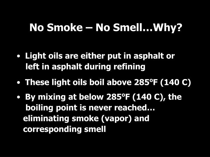 No Smoke – No Smell…Why?