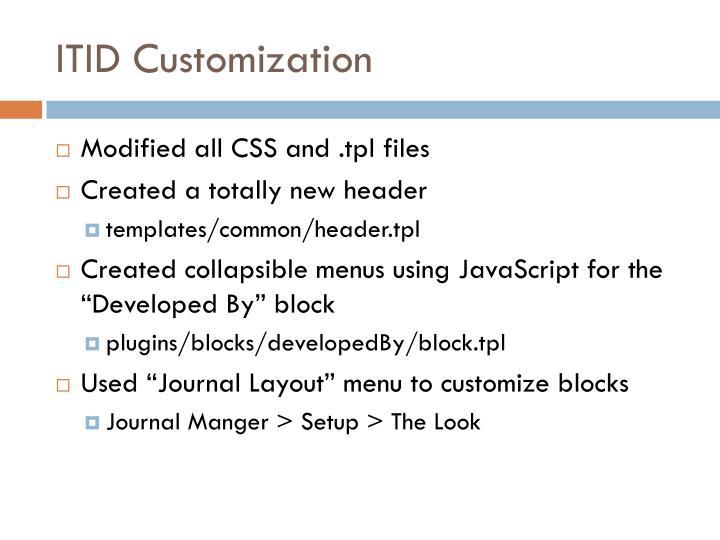 ITID Customization