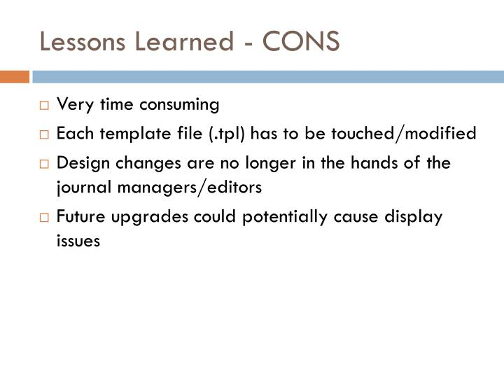 Lessons Learned - CONS