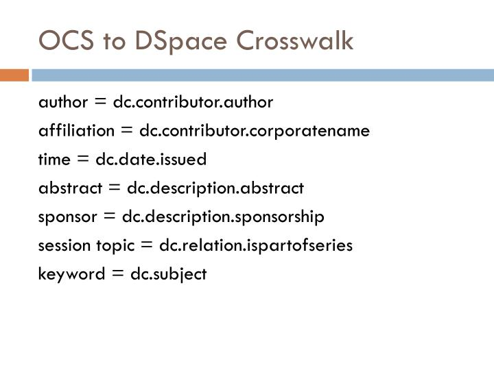 OCS to DSpace Crosswalk