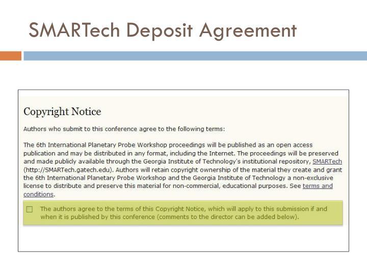SMARTech Deposit Agreement
