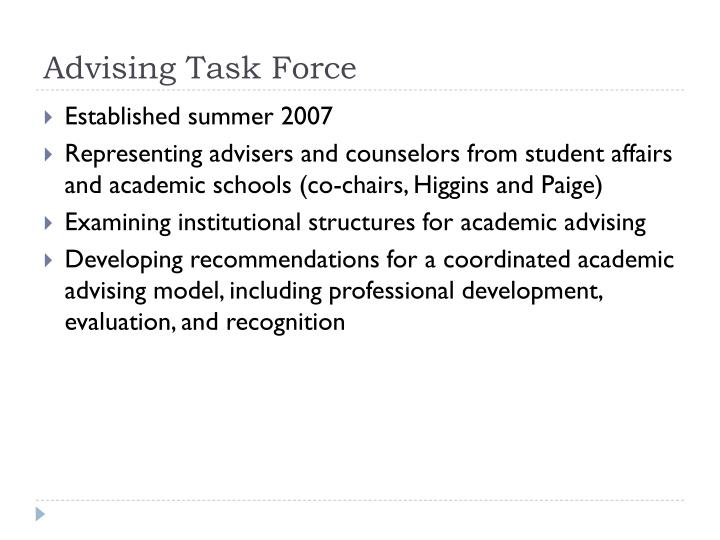 Advising Task Force