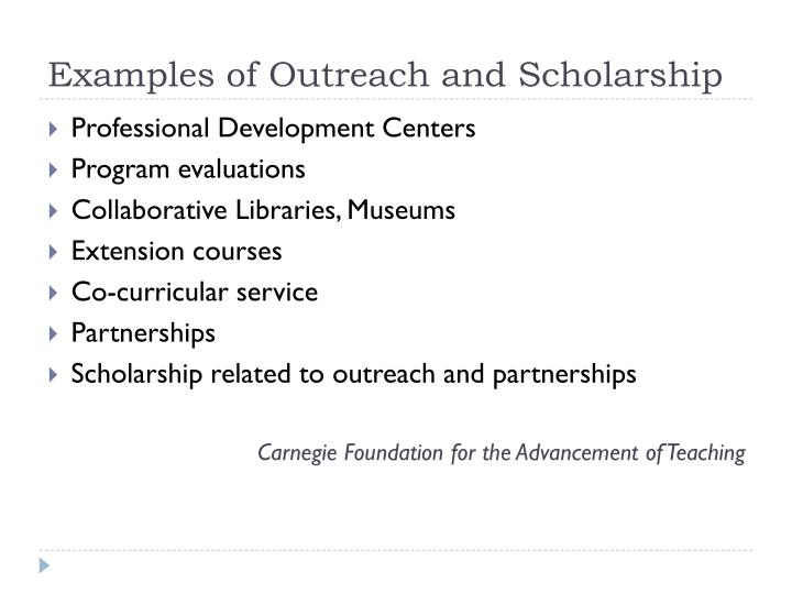 Examples of Outreach and Scholarship