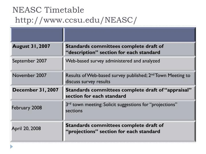 NEASC Timetable