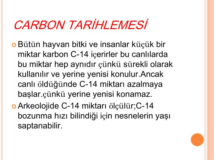 CARBON TARİHLEMESİ