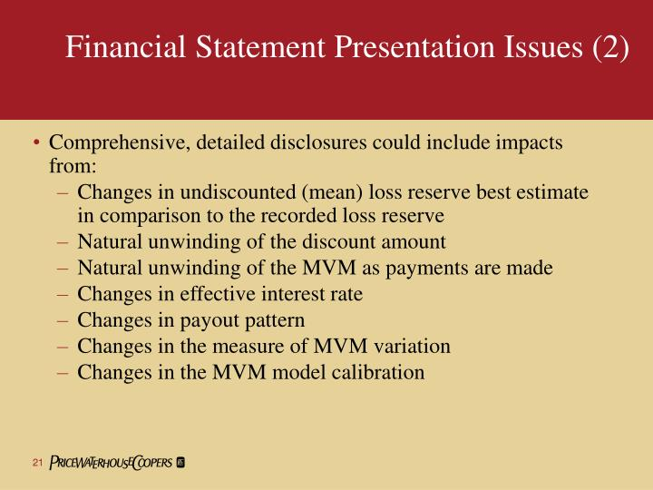 Financial Statement Presentation Issues (2)