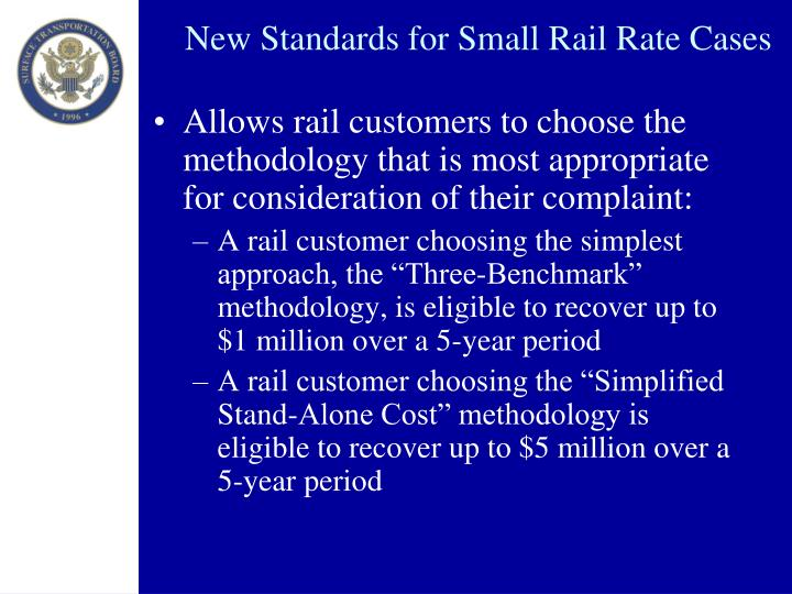 New Standards for Small Rail Rate Cases