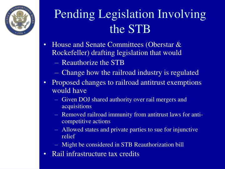 Pending Legislation Involving the STB